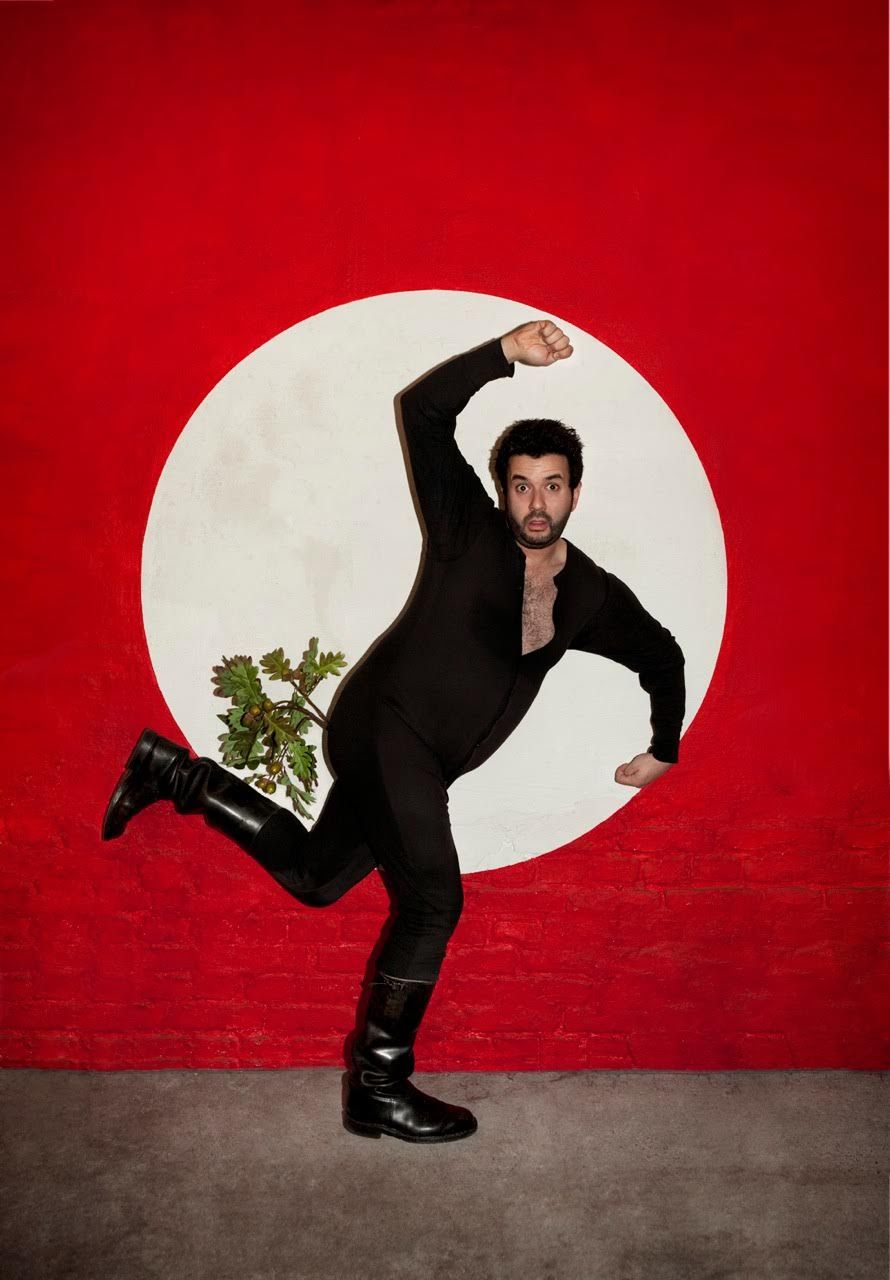 Comedian Oliver Polak in the swastika formation. Photo by Daniel Josefsohn.