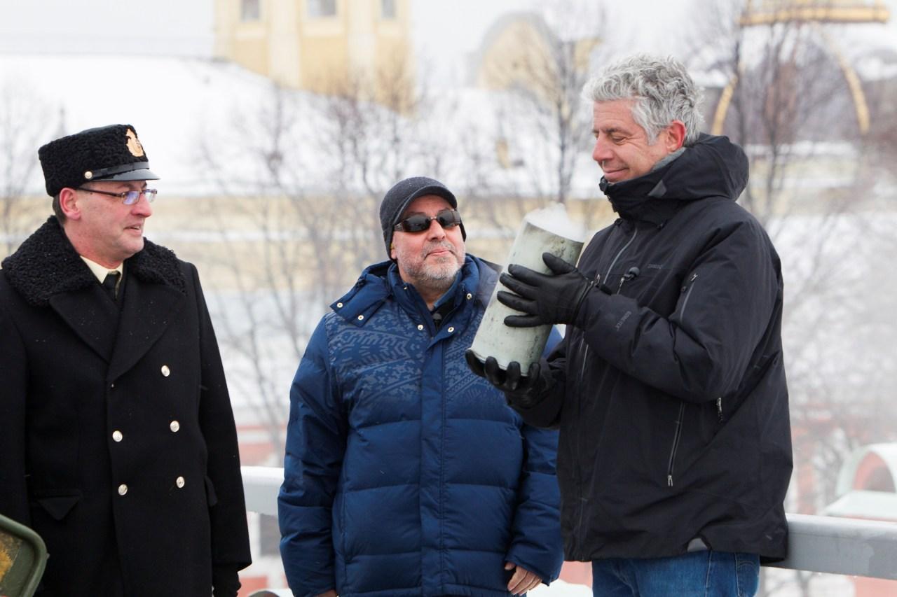 Gotta and Bourdain on set in St. Petersburg.