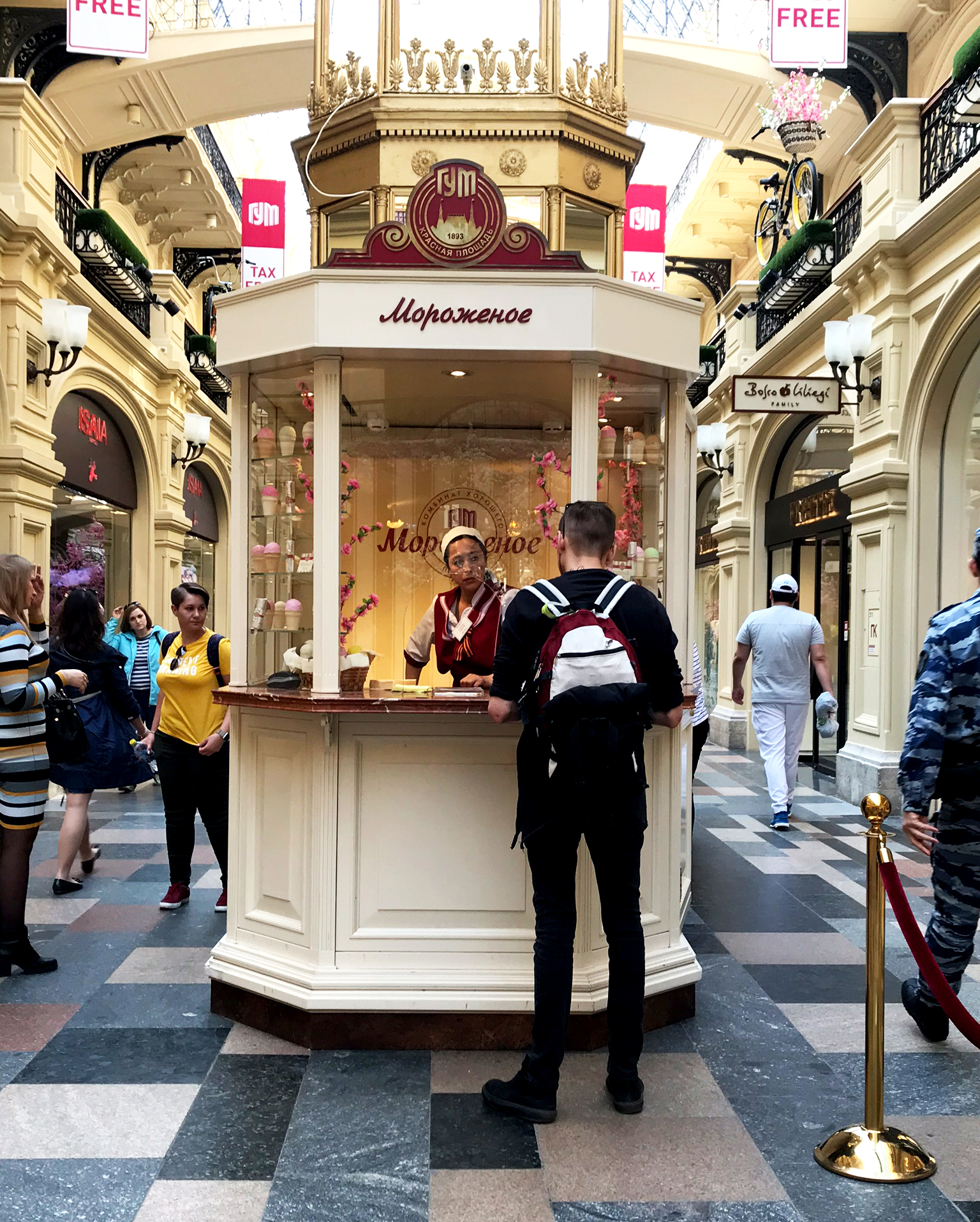 Ice cream kiosk inside Main Department Store. Photo by Alexa van Sickle.