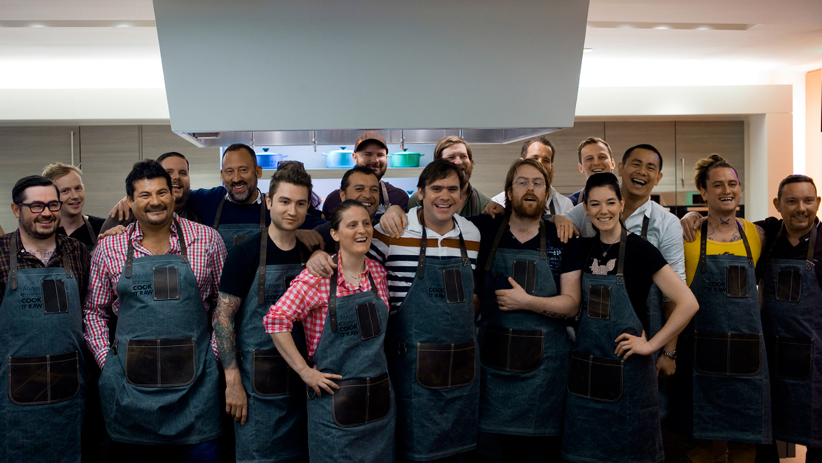 The chefs of Cook it Raw, from Brock (far left) to Adrià (far right).
