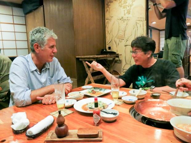 Bourdain with Toshio Maeda at Mienoumi.