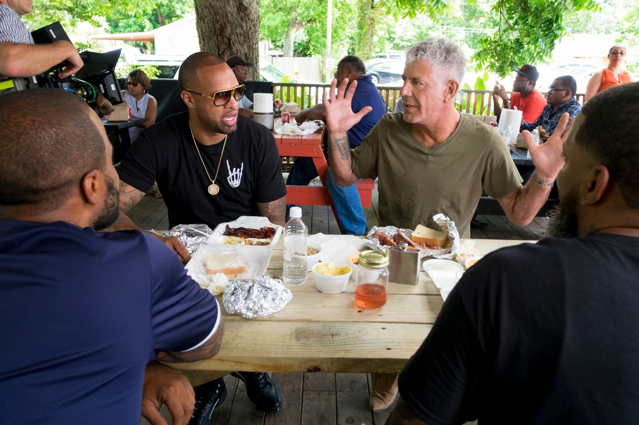 Bourdain and Slim Thug eat lunch in Houston. Photo by David Scott Holloway.