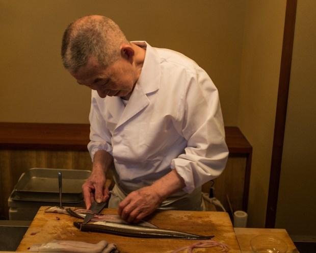 The master preps eel at a tempura restaurant in Tokyo.