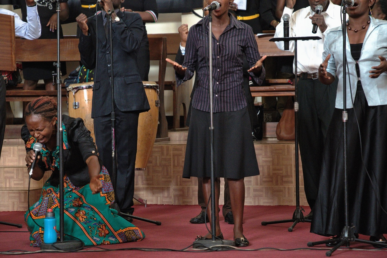 The choir in full swing during a Sunday service at the Friends International Centre in Nairobi, Kenya.