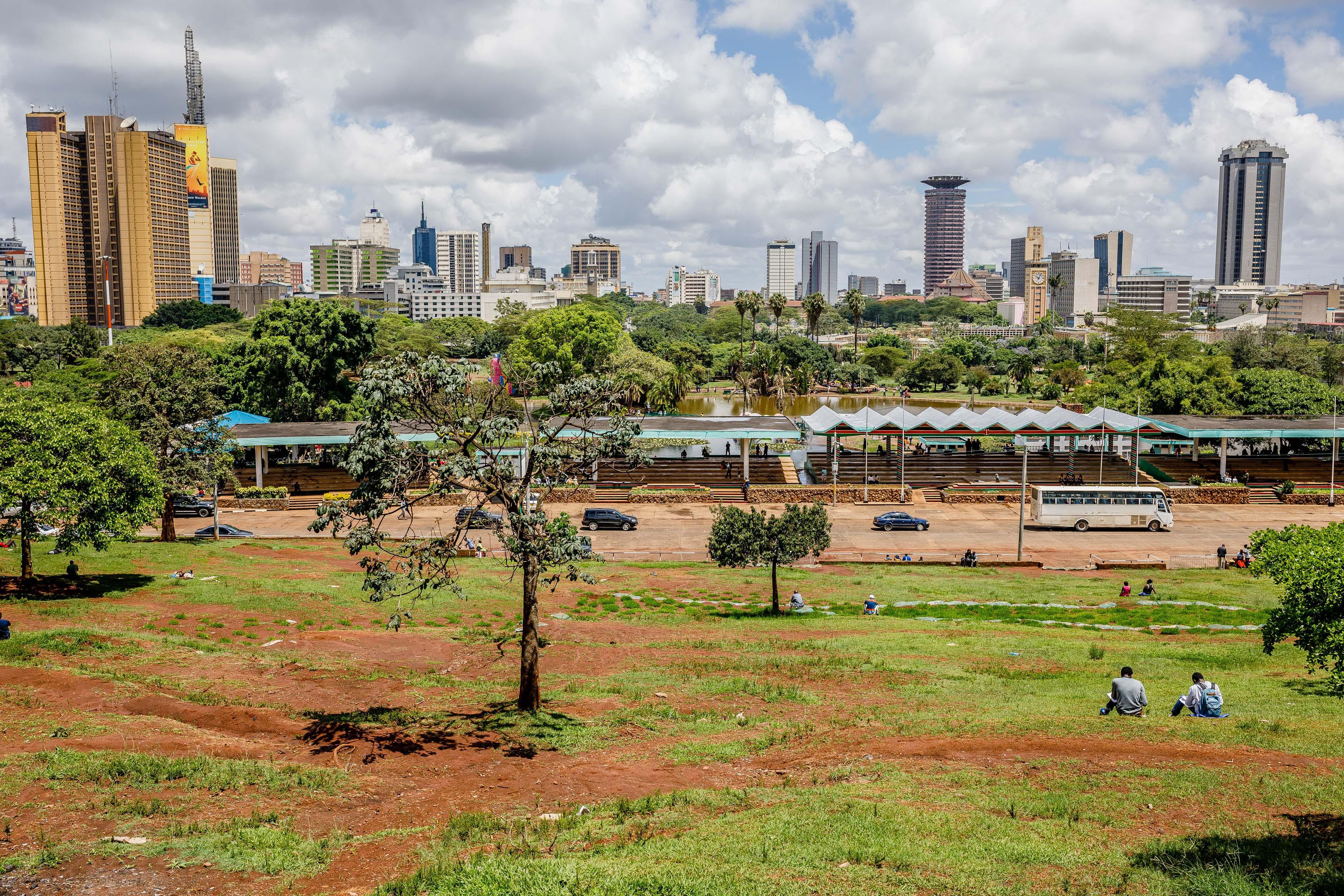 The Nairobi skyline, as seen from Uhuru Park viewpoint.