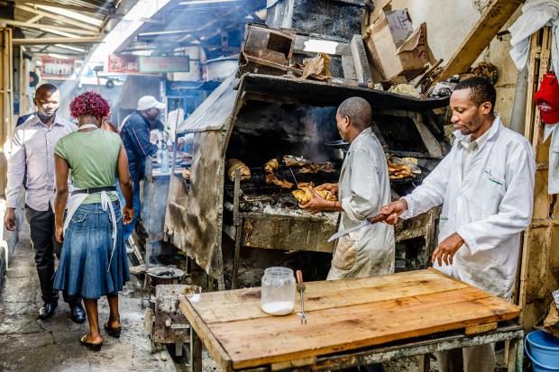 Nyama choma at Nairobi's Kenyatta Market.