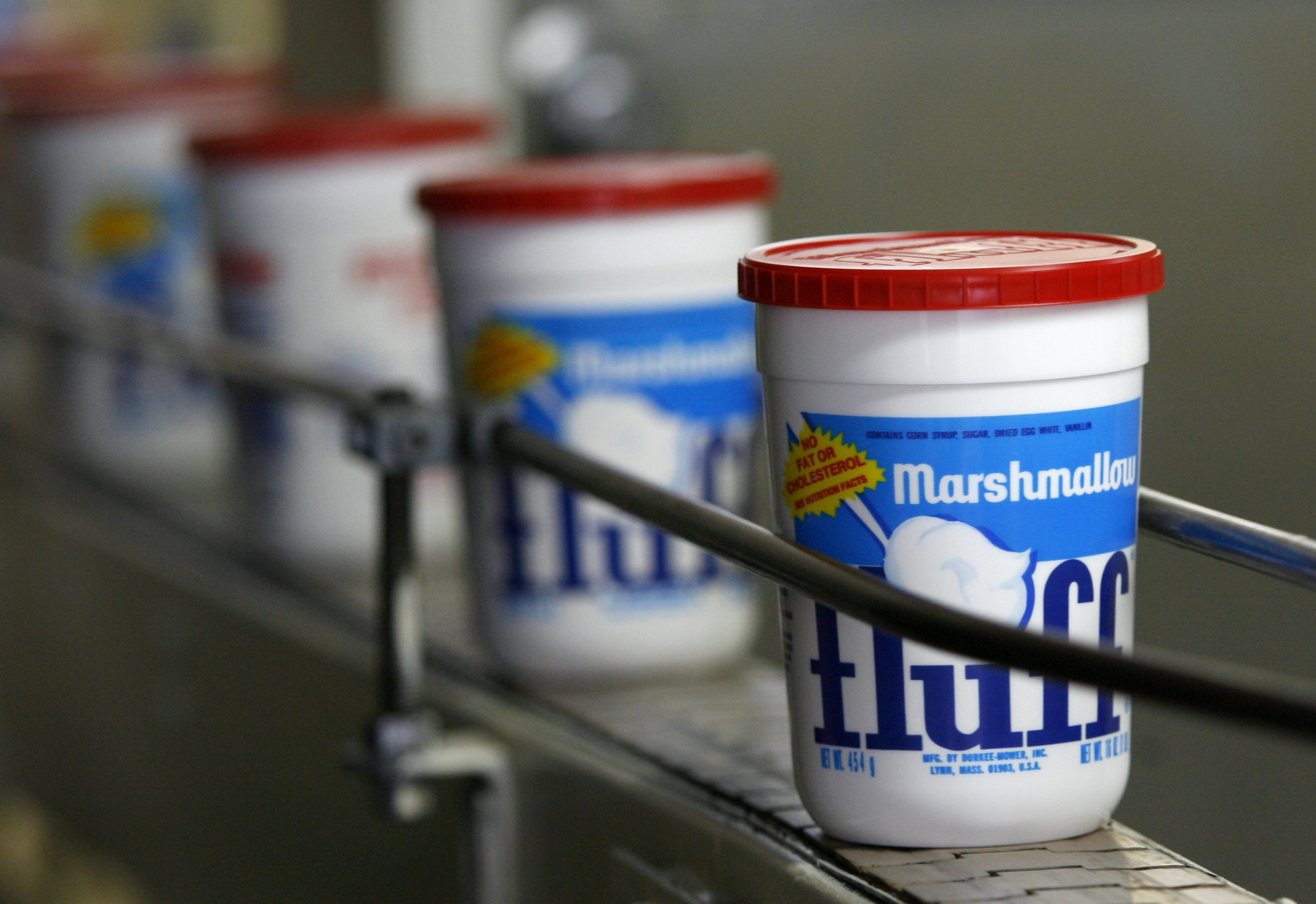 Marshmallow Fluff containers. Photo by Joanne Rathe / The Boston Globe via Getty Images.
