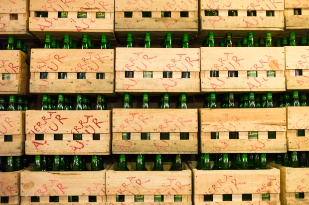 Crates of Asturian cider in northern Spain. Photo by Tim Graham/Getty Images.