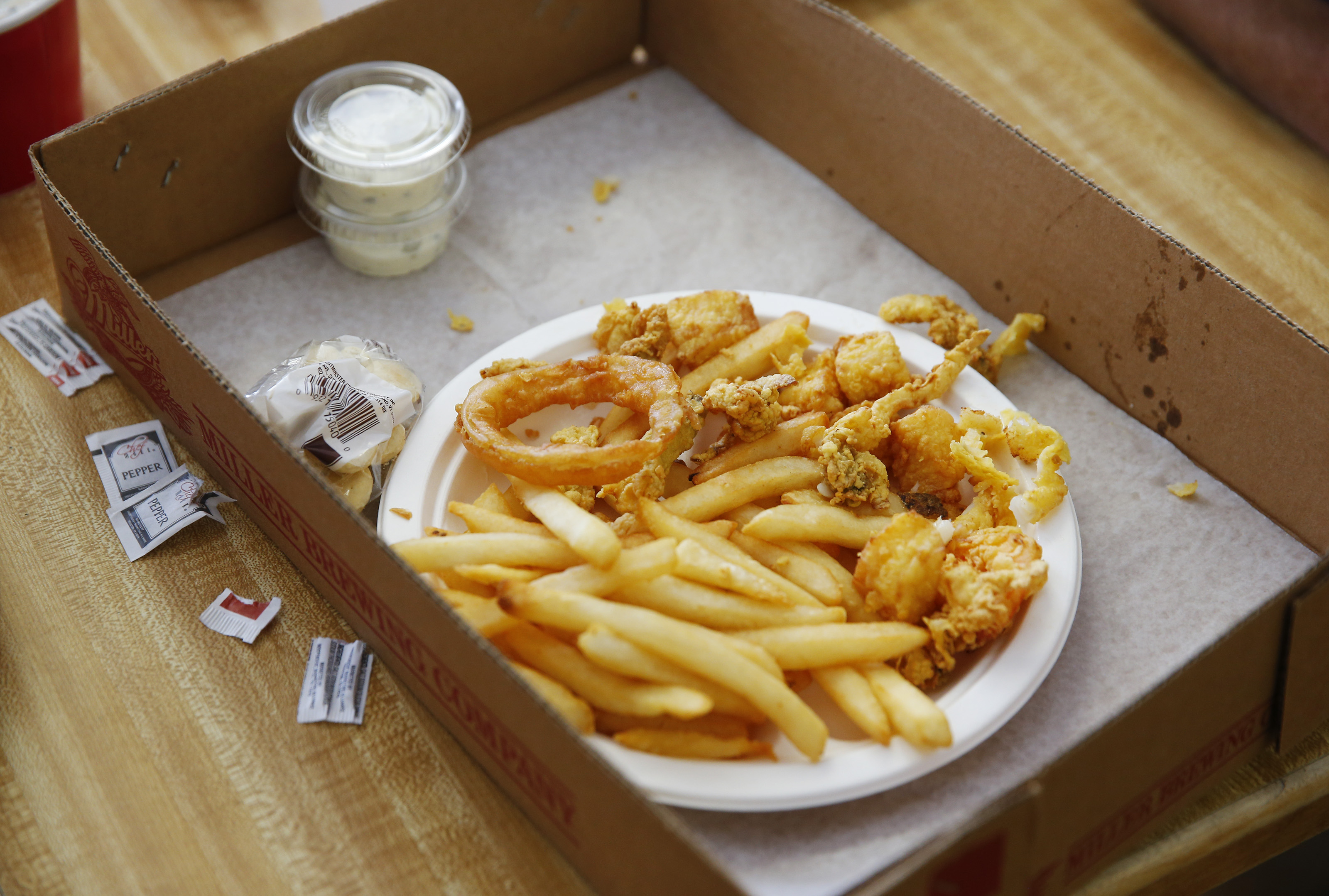 Fried clams and french fries. Photo by Jessica Rinaldi/The Boston Globe via Getty Images.