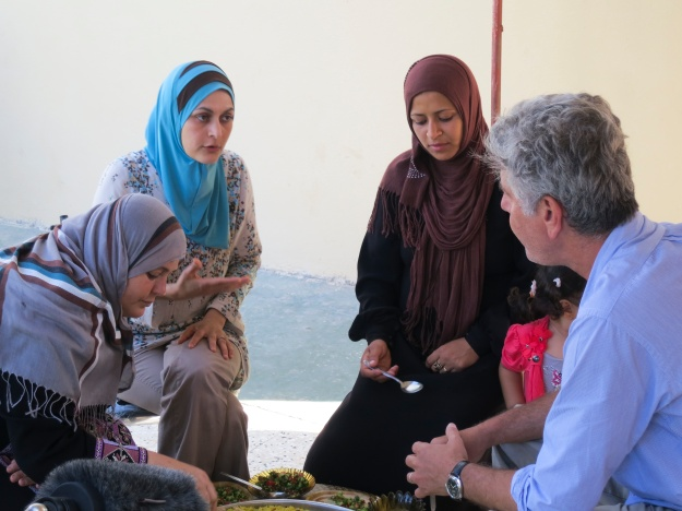 Bourdain and Laila El-Haddad while shooting the Jerusalem episode.