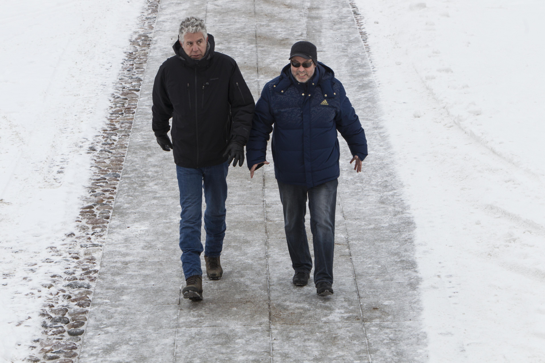 Anthony Bourdain and Zamir Gotta filming in Saint Petersburg.