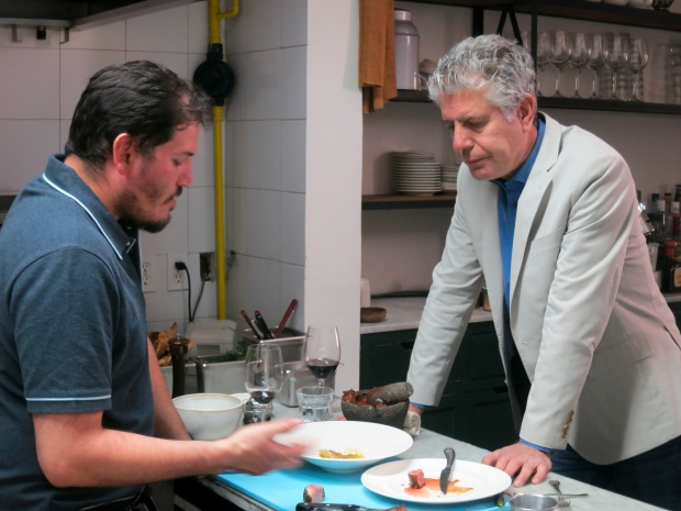Bourdain eating with Casa Oaxaca chef and restaurateur Alejandro Ruiz Olmedo in Mexico.