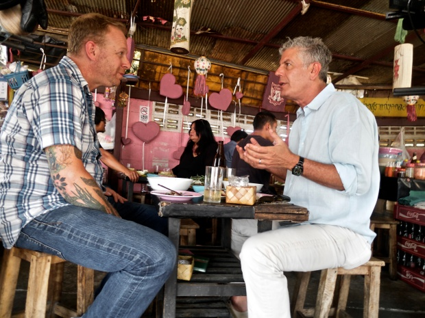 Andy Ricker and Anthony Bourdain filming in Thailand.