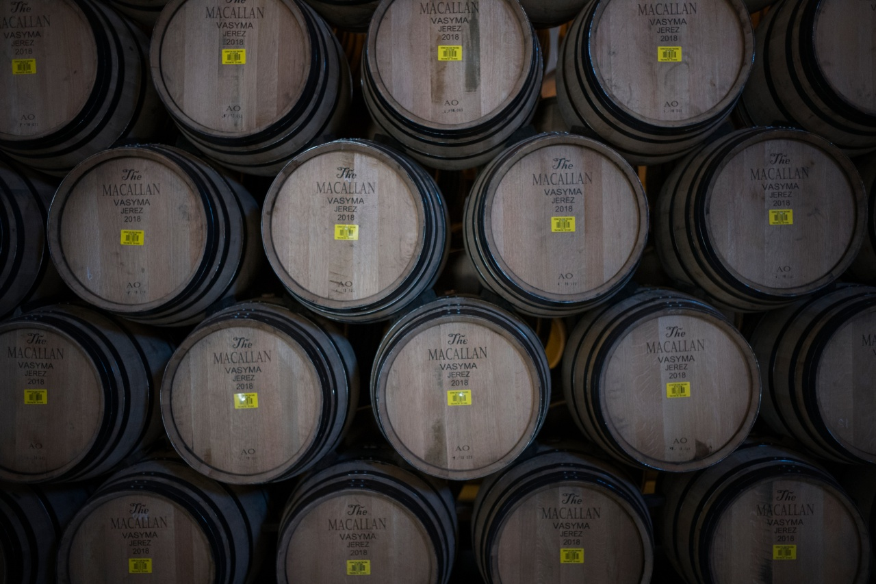 Casks are seasoned with sherry before being delivered to The Macallan Distillery at a bodega in Jerez.