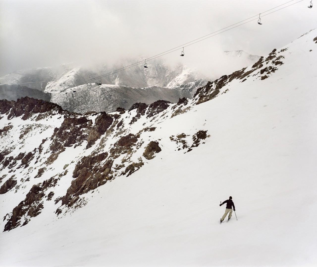 A skier descends Jebel Oukaimeden.