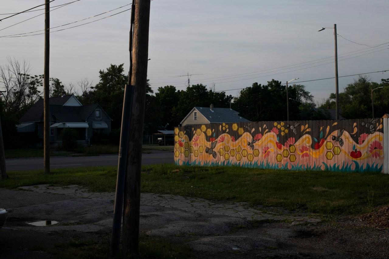 A mural outside the farm.