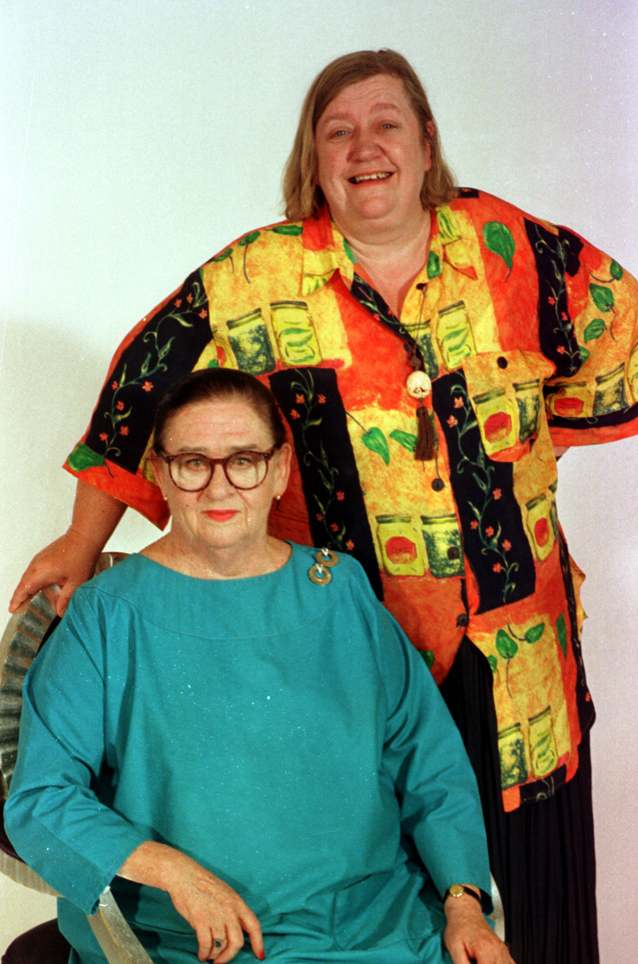 Stars of the BBC2 series 'Two Fat Ladies' Jennifer Paterson (left) and Clarissa Dickson Wright. Photo by Ben Curtis/PA Images via Getty Images.