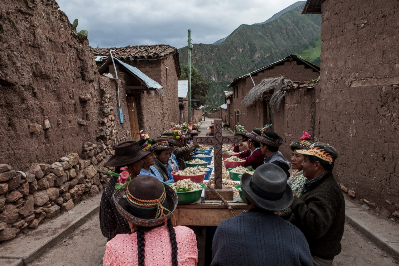 People from around the area feast in the streets of Sarhua.